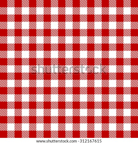 Vector gingham seamless pattern in red - stock vector
