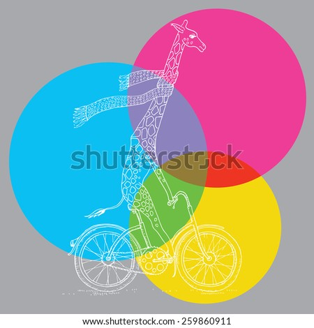 Vector Giraffe on the Bicycle - stock vector