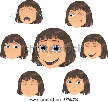 Vector girl  character illustration with various face expressions: smile, angry, sad, crying, working, resentful, happy, smiling. - stock vector
