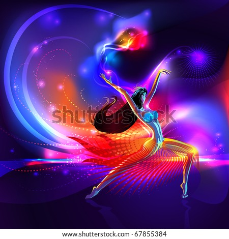 Vector girl dancing on shining multi colored vibrant abstract background - stock vector