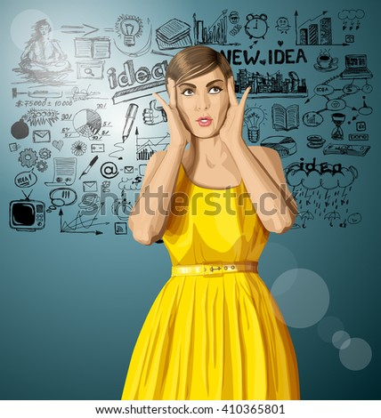 vector girl in dress, surprised and looking up and have got an idea - stock vector