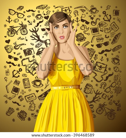 vector girl in dress, surprised and looking up, and thinking about hipster stuff  - stock vector