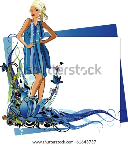 vector girl vector illustration of a fashion girl with  the wave  of colors and flowers - stock vector