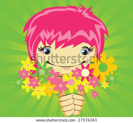 Vector girl with flowers for design - stock vector