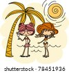 Vector girls in an beach - stock vector