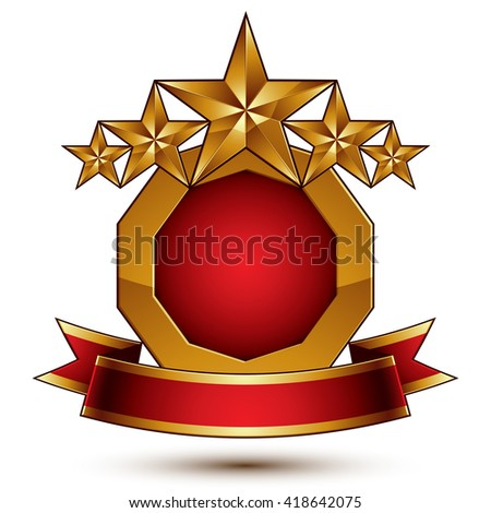 Vector glamorous round element with red filling, 3d polished five golden stars symbol with festive ribbon. Dimensional decorative stars, elegant shaped blazon.