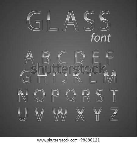 Vector glass alphabet. - stock vector