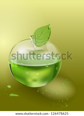 vector glass apple with juice inside, eps10 vector, gradient mesh and transparency used, raster version available - stock vector