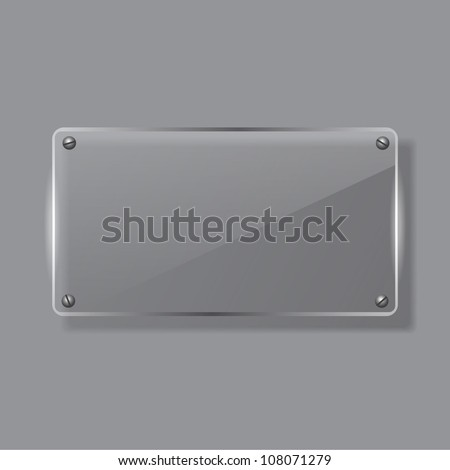 Vector glass banner on gray matte background - stock vector