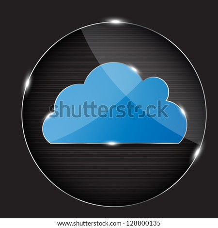 Vector glass button with cloud icon - stock vector
