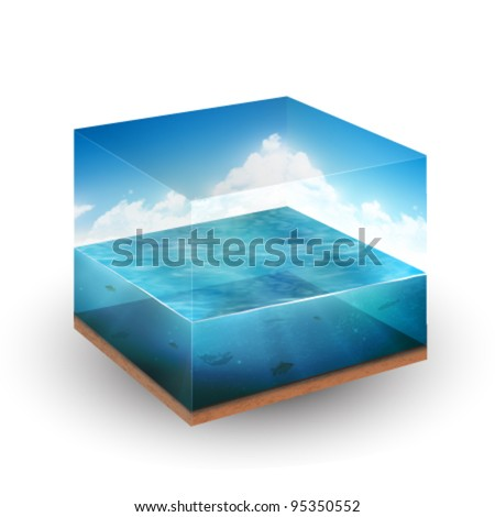 vector glass cube containing a piece of sea - stock vector