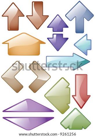 Vector Glass effect Arrow Icons - stock vector