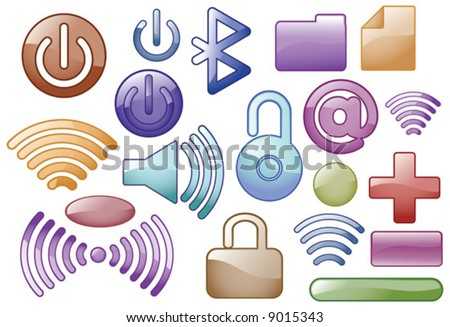 Vector Glass effect media Icons - stock vector