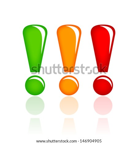 Vector glass exclamation points - stock vector
