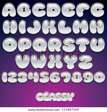 Vector Glass Font. Shiny Latin Letters and Numbers. - stock vector