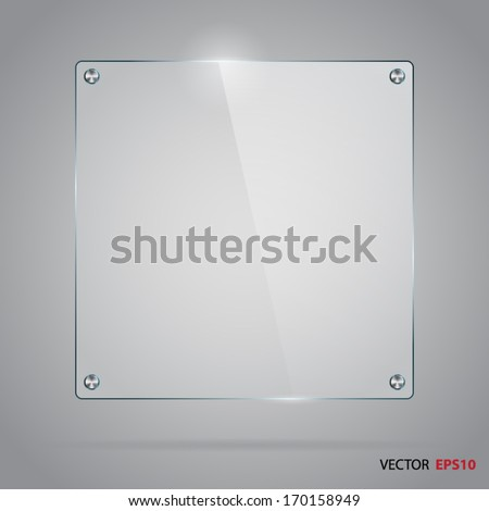 Vector glass frame with steel rivets. - stock vector