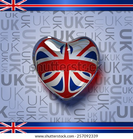 Vector. Glass heart with flag of the United Kingdom (Union Jack )inside. - stock vector