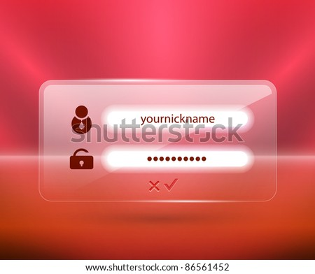 Vector glass login page. Website template - stock vector