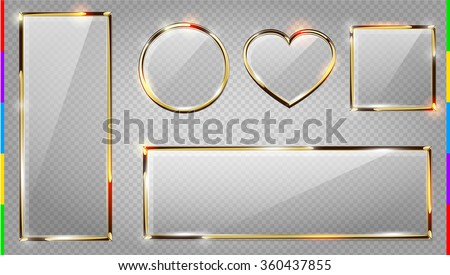 Vector glass modern banner set with shiny golden metallic frame, square, horizontal and vertical rectangle, heart, round. Realistic glossy plate on transparent background - stock vector