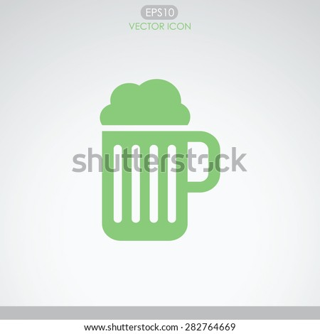 Vector glass of beer icon. - stock vector