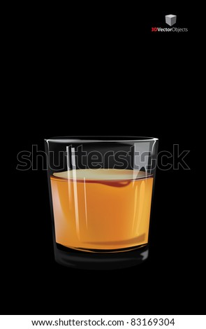 Vector glass of whiskey, on black background - stock vector