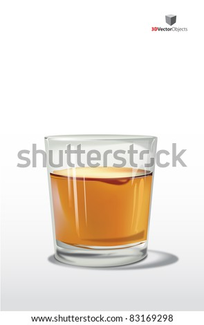 Vector glass of whiskey, on white background - stock vector