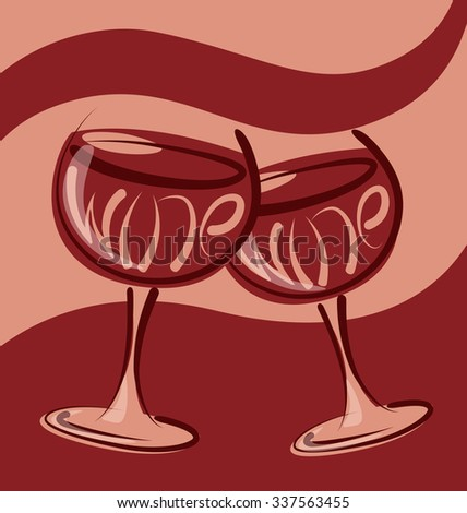 vector glass of wine with calligraphic inscription - stock vector