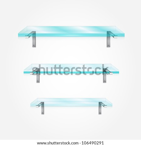 Vector glass shelves - stock vector