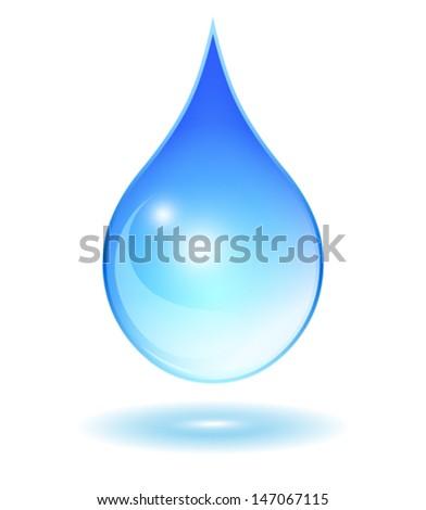 Vector glass water drop - stock vector
