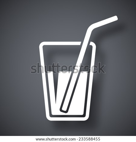 Vector glass with drinking straw icon - stock vector