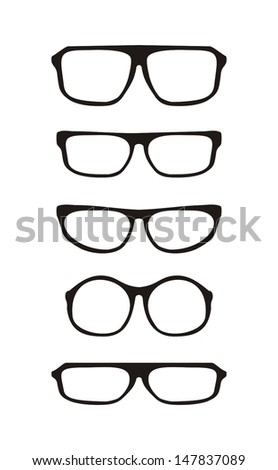Vector glasses set with black thick holder retro hipster illustration isolated on white background. Medical huge eye glasses shilouette collection. Sign of intelligence,  secretary or school teacher  - stock vector