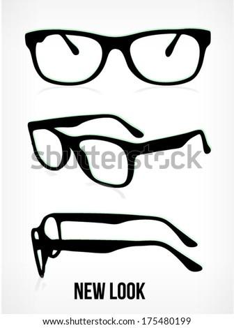 vector glasses silhouette. glasses background. glasses isolated on white background. - stock vector