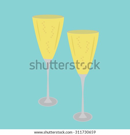 Vector glasses with champagne and bubbles champagne on a blue background