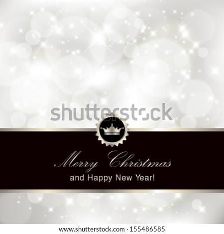 Vector glittery silver Christmas invitation background. - stock vector