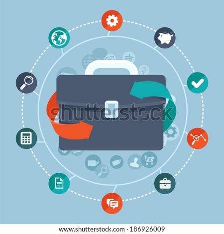 Vector global business concept in flat style- worldwide network and online communication icons and signs - stock vector