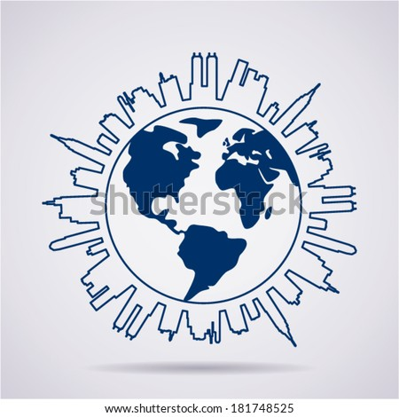 vector global panorama design as urban line shape - stock vector