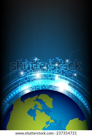 vector global satellite technology, telecommunication concept - stock vector