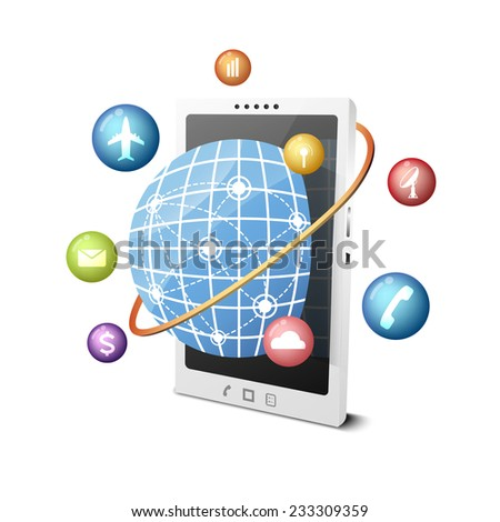 vector global smartphone technology, business telecommunication concept - stock vector