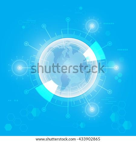 vector global telecom, future technology background - stock vector