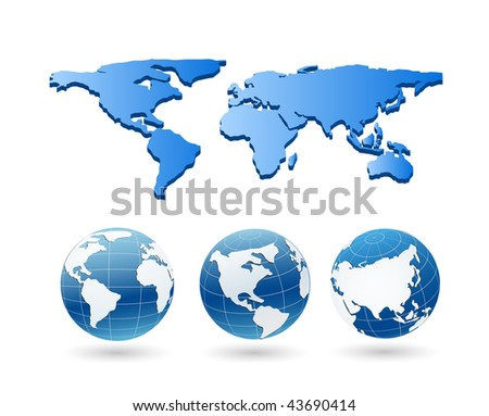vector globe and map - stock vector