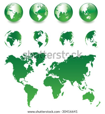 Vector Globe and Map of the World [set 2] - stock vector