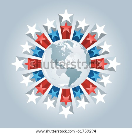 Vector globe and stars burst. Elements are layered separately in vector file. - stock vector