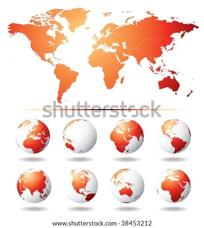 Vector Globe and World Map - stock vector