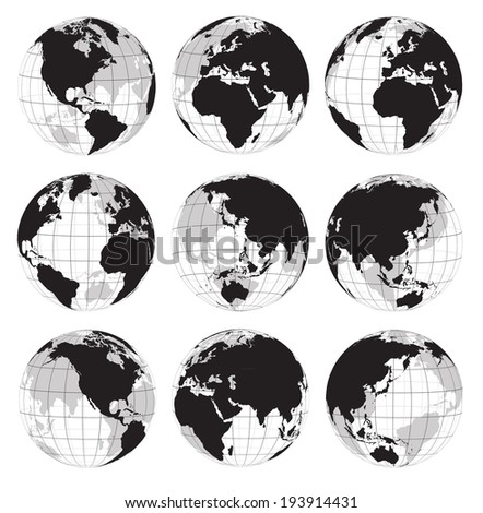Vector globe earth icons on a white background - stock vector