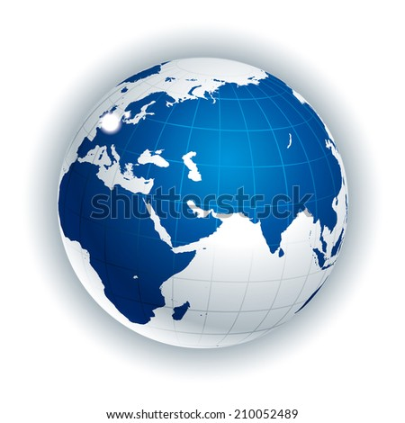 Vector Globe. Eurasia side - stock vector