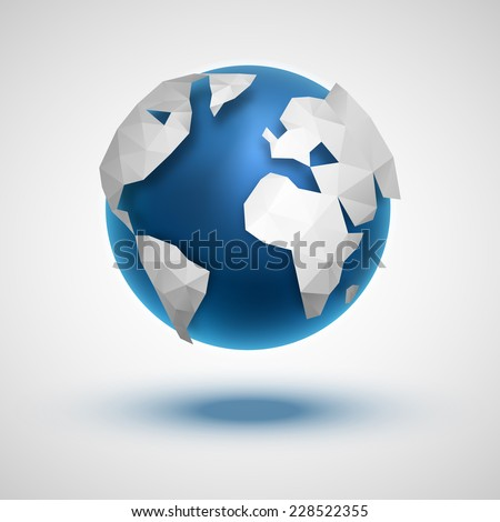 Vector globe icon of the world in abstract triangle style. - stock vector