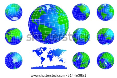 Vector Globe Icons Showing Earth With All Continents. Western And Eastern  Hemispheres. Set.