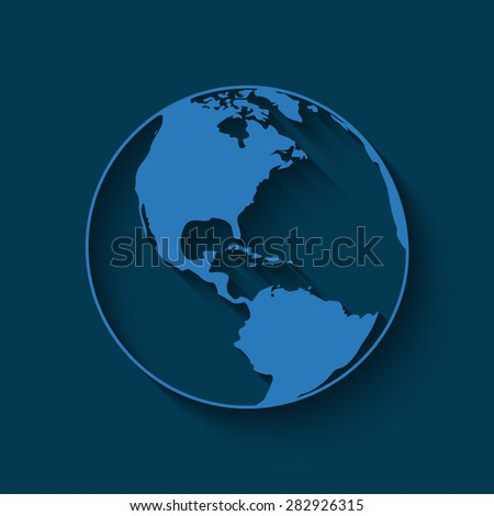 Vector globe icons with shadow on a blue background - stock vector