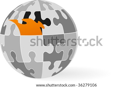 vector globe made from puzzles - stock vector