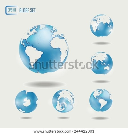 Vector globe set. Contemporary globe in different views. Isolated.